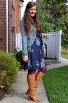 blue thrifted vintage blazer - tan Nine West boots - navy Anthropologie dress