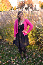 black Macys dress - black thrifted boots - hot pink Old Navy cardigan