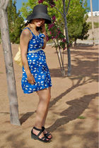 blue modcloth dress - white vintage belt - yellow Gap purse - black Ralph Lauren