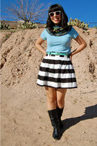 blue Gap shirt - black Forever 21 skirt - black vintage boots - purple Forever21