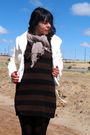 White-vintage-coat-brown-h-m-dress-black-dkny-tights-black-frye-boots-be
