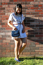 white vintage dress - blue vintage purse - blue vintage Keds shoes - red vintage