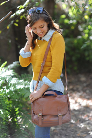 dark brown Forever 21 boots - navy Old Navy jeans - mustard Forever 21 sweater