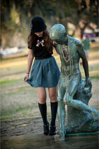 charcoal gray hat - bronze homemade shirt - blue Anthropologie skirt - black gia