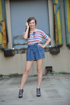 red striped Forever 21 top - blue Forever 21 shorts - gray Unlisted wedges