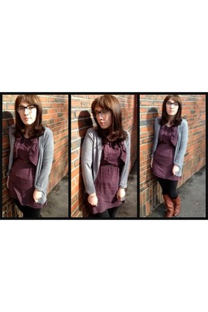 vintage boots - modcloth dress - H&M leggings - Forever 21 cardigan