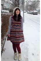 modcloth boots - modcloth dress - Urban Outfitters hat - Old Navy shirt