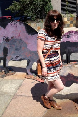 Forever 21 bag - Urban Outfitters boots - modcloth dress - Forever 21 sunglasses