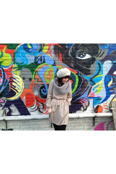 Ruche dress - Urban Outfitters hat - H&M scarf