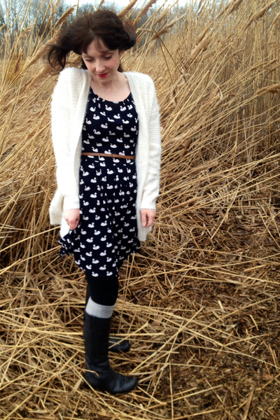 Urban Outfitters boots - modcloth dress - Forever 21 sweater - H&M leggings