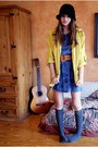 Blue-clock-dress-homemade-dress-black-thrifted-hat-yellow-anorak-forever21-j