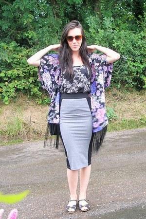 purple new look cape - heather gray H&M skirt - black F&F top