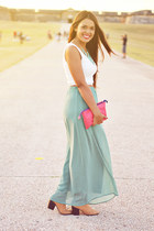aquamarine maxi Forever 21 skirt - camel ankle boots - bubble gum Forever 21 bag