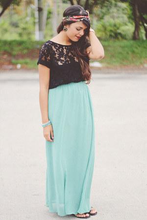 aquamarine long Forever 21 skirt - black lace Zara top