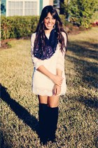 black knee high Forever 21 boots - off white lace Forever 21 dress - navy banana
