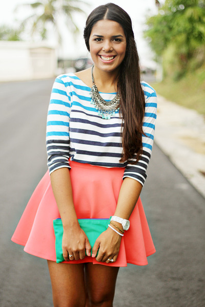 salmon skater Forever 21 skirt - blue striped Zara top
