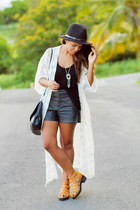 nude gladiator The Black Poppy shoes - black faux leather Forever 21 shorts