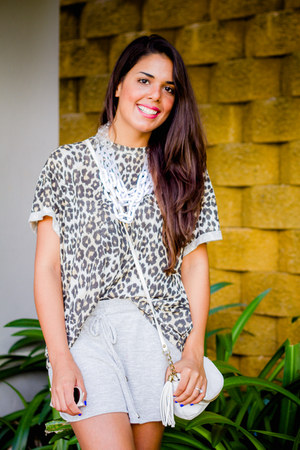 silver Forever 21 shorts - black leopard print Zara top