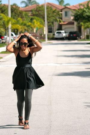 black novus shoes - black American Apparel dress - gray Zara leggings