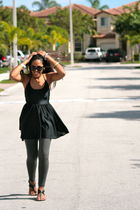 black novus shoes - black American Apparel dress - gray Zara leggings