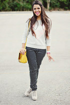 silver sequin heart Forever 21 sweater - bubble gum Zara blazer