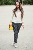 silver sequin heart Forever 21 sweater - bubble gum Zara blazer