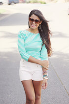 light pink nautical Zara shorts - brown BCBG sunglasses