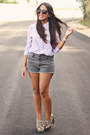 Heather-gray-forever-21-shorts-periwinkle-forever-21-blouse