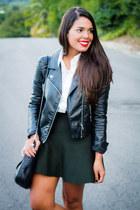 black leather H&M jacket - light brown leopard print Shoedazzle sneakers