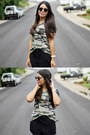 Olive-green-camo-kirra-top-black-forever-21-shorts
