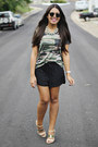 Black-forever-21-shorts-olive-green-camo-kirra-top