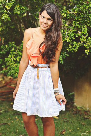 salmon Forever 21 top - light blue Zara skirt
