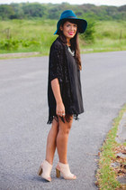 tan ankle Shoedazzle boots - black brandy melville dress - teal wide brim hat