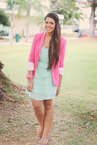 aquamarine Forever 21 dress - bubble gum Zara blazer