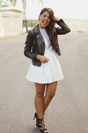 white Topshop dress - black leather H&M jacket - mustard Zara earrings