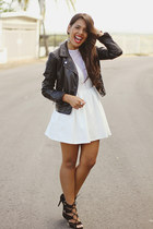 white Topshop dress - black leather H&M jacket - mustard Zara earrings