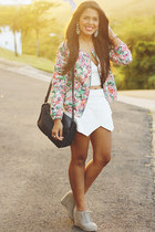 pink floral bomber Zara jacket - navy shoulder Zara bag