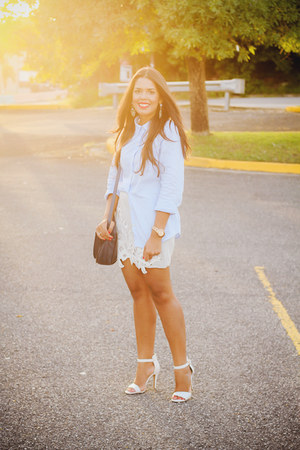 navy Zara bag - light blue button down Old Navy shirt - silver lace Zara skirt