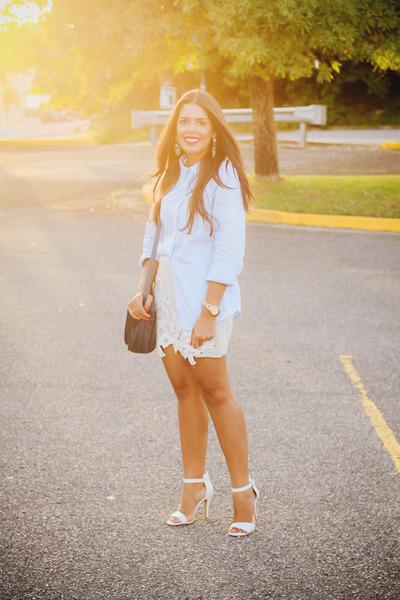 navy Zara bag - light blue button down Old Navy shirt - silver lace Zara skirt