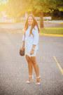 Light-blue-button-down-old-navy-shirt-navy-zara-bag-silver-lace-zara-skirt