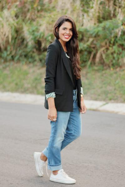 blue boyfriend Zara jeans - black boyfriend Zara blazer