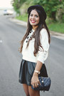 Ivory-leopard-print-la-hearts-sweater-black-h-m-hat-black-leather-skirt