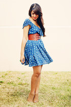 blue Zara dress - tawny Forever 21 belt