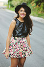 Black-forever-21-hat-hot-pink-floral-print-nollie-skirt