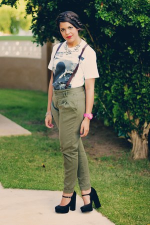 olive green suspenders Zara pants - black Forever 21 shoes