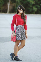 black studded Shoedazzle boots - black Zara skirt - ruby red Zara top