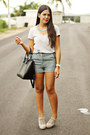 Black-zara-bag-turquoise-blue-forever-21-shorts-silver-top