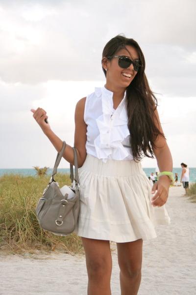 white Zara shirt - gray Aldo bag - black Ray Ban sunglasses