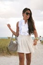 Beige-armani-exchange-skirt-white-zara-shirt-gray-aldo-purse-black-ray-ban