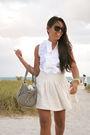 Beige-armani-exchange-skirt-white-zara-shirt-gray-aldo-purse-black-ray-ban